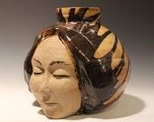 Large Face Vase Sculpture Head Ikebana Vessel Meditation with Drips