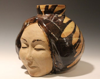 Large Face Vase Sculpture Head Ikebana Vessel Meditation with Drips