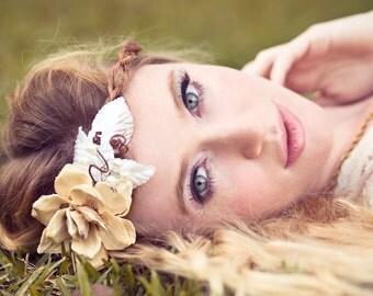 wedding headband, ivory bridal head piece, pine cone rose head piece, rustic wedding