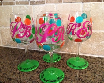 Girl's Weekend Hand painted and Personalized Wine Glasses, Pilsner glasses, Martini etc glasses for Wedding Party Etc. Etc.