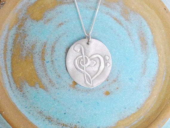 Music Inspired Pure Fine Silver Bass Clef Treble Clef Heart Necklace PMC