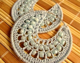 Crocheted hoops with beads in Light Lavander