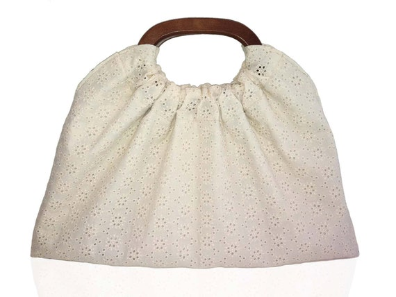 SALE Eyelet Lace Cream Handbag with Leopard Lining and Wood Handles