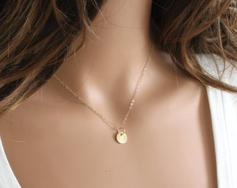 Tiny Gold Dot Necklace - Simple Necklace - Celebrity Inspired - Everyday Necklace - Dainty Necklace - Everyday Jewelry - Disc Necklace