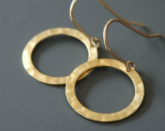 MADE TO ORDER, Gold Circle Earrings, Simple Earrings, Gold Filled Circles, Dangle Earrings, Everyday Earrings, Hammered Circles