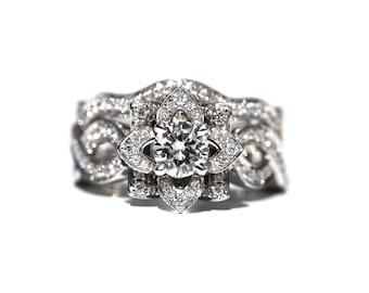 LOVE In BLOOM Wedding set - Flower Rose Diamond Wedding band - 14K white gold - custom made - Beautiful Petra Patented design - fL03S
