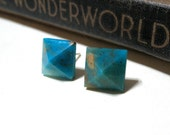 Blue Peruvian Opal Pyramid Post Earrings - Stud - Turquoise - Aqua - Genuine - Silver Plated - Square - Gemstone