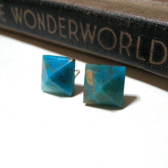 Blue Peruvian Opal Pyramid Post Earrings - Stud - Turquoise - Aqua - Genuine - Silver Plated - Square - Gemstone