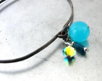 Charm Bangle Bracelet with Aqua Quartz Apatite Stone Swarovski Crystal on Oxidized Silver Stacking Bracelet Handmade Jewelry Canada