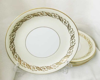 Noritake Gold Leaf Luncheon Plates(4) circa 1950's