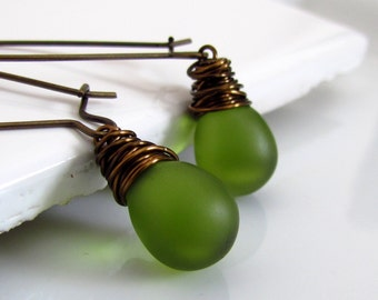 Olive Green Glass Earrings, Avocado, Mossy Green, Frosted Green, Czech Glass Earrings, Antiqued Brass, Wire Wrapped, Teardrop Earrings