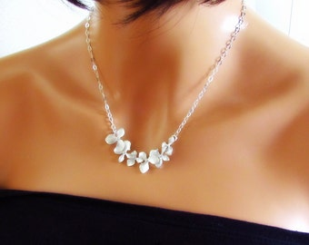 Silver Orchid Necklace, Flower Necklace, Sterling Silver, Simple Bridesmaids Jewelry