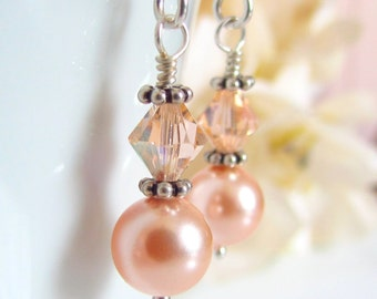 Peach Pearl Earrings, Peach Bridesmaids Earrings, Swarovski Crystal, Sterling Silver, Dangle, Wire Wrapped