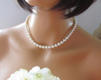 Classic White Pearl Necklace, Single Strand Pearl Necklace, Pearl Necklace, Sterling Silver and Swarovski Pearls, Bridal and Bridesmaid
