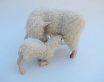 Irish Galway Sheep FIgure With Kneeling Nursing Lamb
