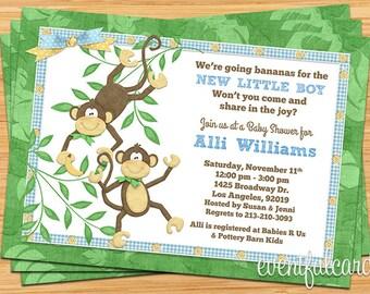 Cute Monkey Banana Baby Shower Invitation