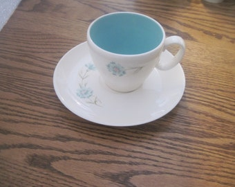 Taylor, Smith, Taylor Boutonniere cups and saucers with floral transfer each.