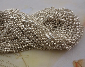 15PCS 2.4mm 27 inch silver ball necklace chain with matching connector
