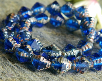 Picasso Czech Glass Beads, Fire Polished Faceted Bicones, Etched Bicone Beads, 8mm, Transparent Sapphire & Metallic Picasso (12p