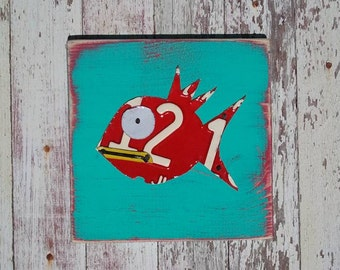 Funky Red Fish on Aqua Turquoise Blue Yellow Sea Nautical Beach Nursery Boy Toddler Animal Custom License Plate Art Recycled States