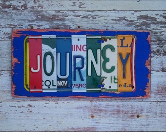 Personalized License Plate Sign - Funky JOURNEY Word Block - WEDDING Custom Words NAMES Available - Recycled Vintage Art  Upcycled Artwork