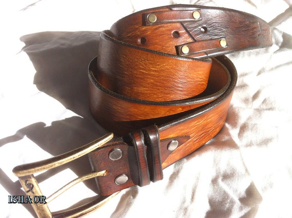 Mens Gift Brown Distressed Leather Belt With Decorative By