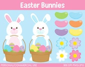 Easter Bunnies Clipart - Digital Clip Art Graphics for Personal or Commercial Use