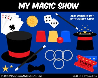 Magic Show Clipart - Digital Clip Art Graphics for Personal or Commercial Use