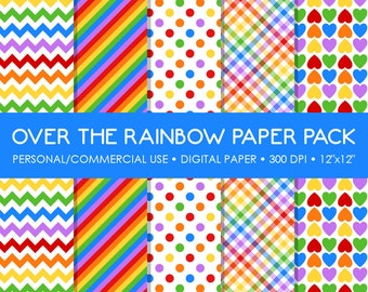 Rainbow Digital Printable Paper Pack - For Commercial or Personal Use
