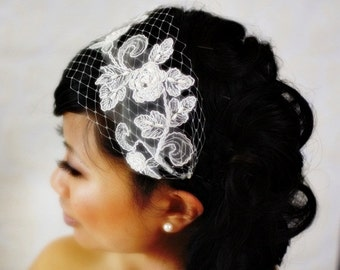 Venetian Bandeau Birdcage Veil with Bridal Lace (READY TO SHIP)