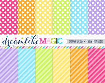 Rainbow Brights- Digital Paper Pack for Personal or Commercial Use
