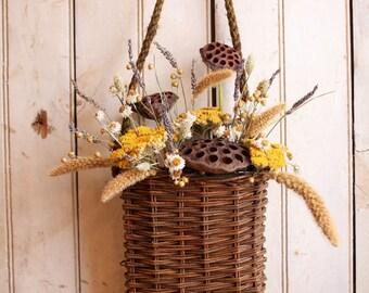 Cottage Garden Basket Pouch - Autumn Front Door Wreath - Basket Arrangement - Wedding Decor