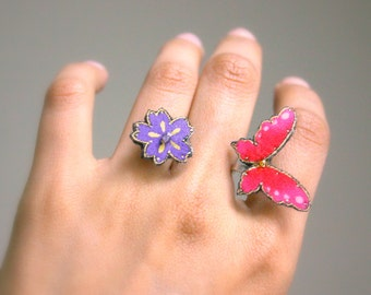 Butterfly and flower in between wrap ring - double textile ring - sterling silver - violet and purple - adjustable