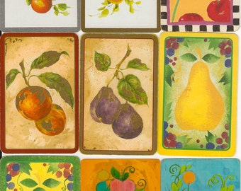 Vintage Playing Cards FRUIT paper ephemera pear cherries strawberries cherry scrapbooking collage altered art paper Crafts 2 ea of 9 designs