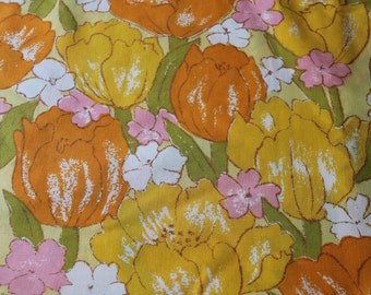 Vintage reclaimed Fabric bed sheet linen Fabric Big Bright tulips and blooms For Easter Spring sewing quilting apparel decor fabric 1 yd