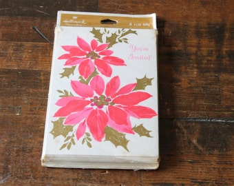 Vintage Invitations Cards paper ephemera retro Hallmark Holiday Party invites Cards pink poinsettias scrapbooking collage supplies ephemera