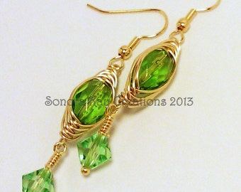 Herring Bone Wire Wrapped  Czech Glass Crystal Earrings Custom Made To Order in Your Color Choice