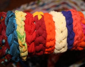 Upcycled Fabric or Tshirt Bracelet- knitted
