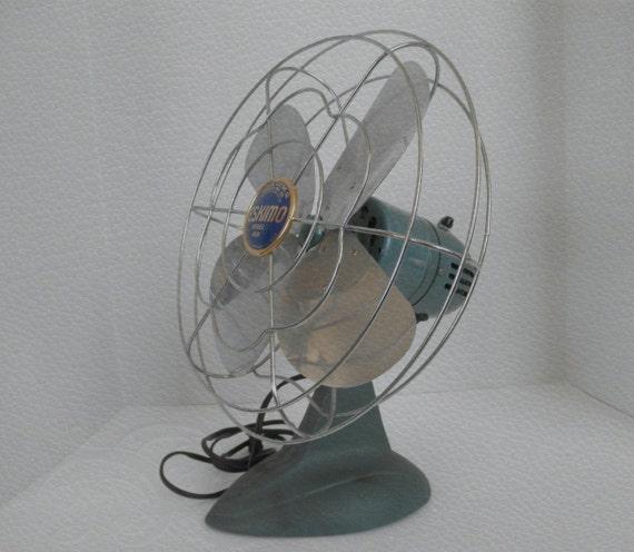 Vintage Eskimo Fan Model 45R Teal/Turquoise Color