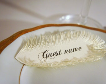 Ivory wedding FEATHER place cards / HANDMADE of iridescent Ivory paper / Name Printing Included