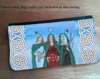 Triple Goddess Hand Pressed Flap for Changeable Art Wallet