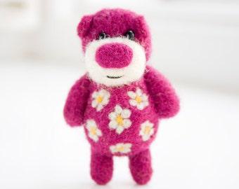 Deep pink purple pocket felted bear