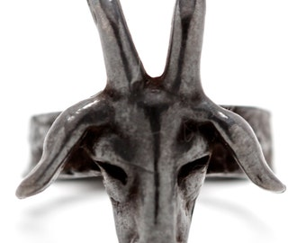 The Goat Ring in Black, white bronze  (Made in NYC)