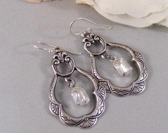 Princess,Earring,Vintage Earrings,Diamond,Diamond Earrings,Clear,Crystal,Rhinestone. Handmade Jewelry by valleygirldesigns.