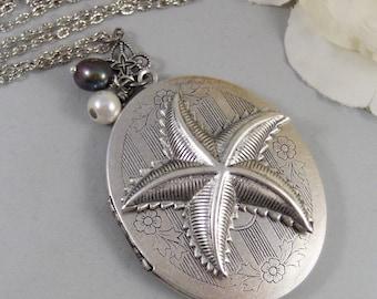 Starfish,Silver Locket,Locket, Antique Locket,Shell,Necklace,Victorian,Fish,Star,Pearl,Blue. Handmade jewelry by valleygirldesigns.