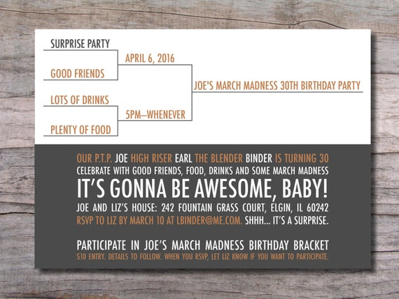 Items similar to March Madness Birthday Party Invitation Basketball on Etsy
