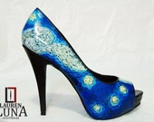 Swirl Handpainted Leather Peeptoe Heels