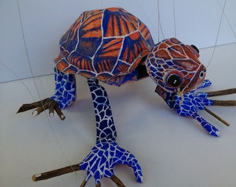 Mystic turtle OOAK marionette art doll ceramic found object mache