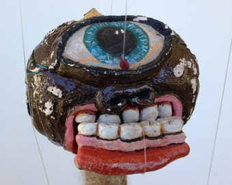 Monster OOAK marionette art doll ceramic found object mache