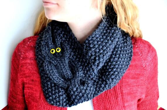 Owl Cowl Knitting Pattern : Owl Cowl Knitting Pattern from lindsaykoehler on Etsy Studio